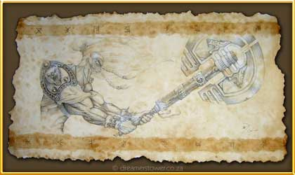 This is a sketch showing the weapon of this Viking as he lived with honour battling for the safety of his family. It was created to inspire the client to recall his immutable energy and to stand firm in the knowledge of his unconquerable spirit. - completed in December 2006