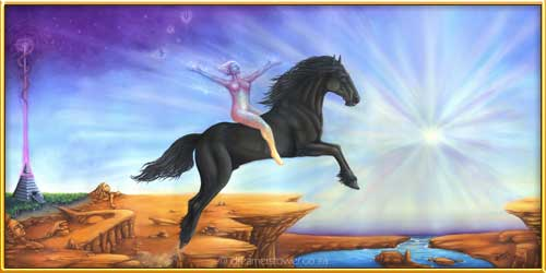 This oil painting is a wonderful depiction of a soul being of pure light awakening to her true potential and being supported by a majestic Friesian horse. Leaping fearlessly together into the unknown, whilst at the same time a world of magic follows them into the star light. This painting speaks to the Soul; saying you are not alone and we are with you always, trust that your dreams are a reality. - completed in April 2015
